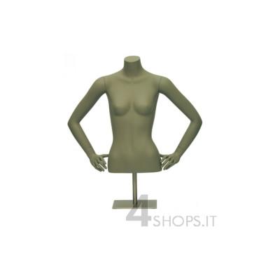 Busto Donna camicieria con braccia e base in metallo