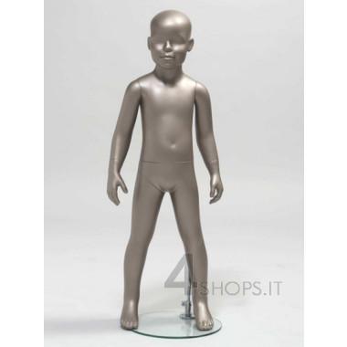 Manichino bambino 4 anni testa astratta finitura grigio metallico pos.103