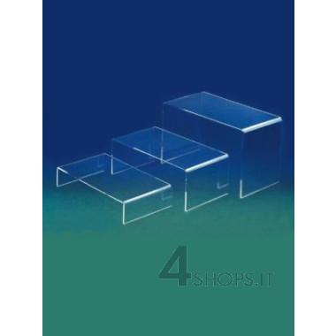 Gruppo di 3 elementi espositivi grandi in plexiglass