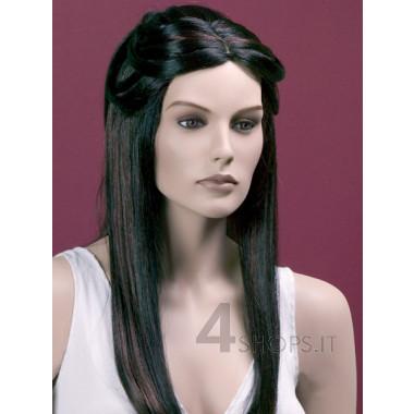 Parrucca donna nera liscia con riflessi castani