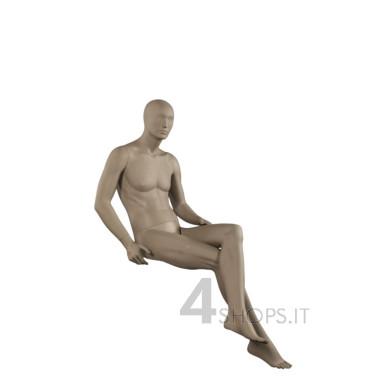 Manichino uomo testa stilizzata seduto grigio opaco -  Vista laterale