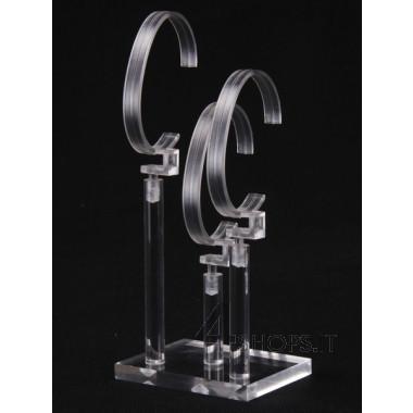 Espositore per 3 orologi in plexiglass trasparente
