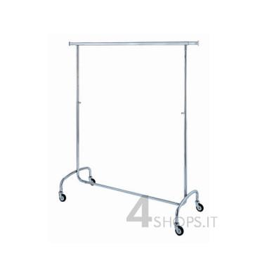 Stender cromato regolabile 140 cm. con ruote 80 mm.