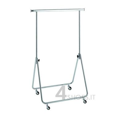 Stender cromato regolabile 80 cm. con ruote 80 mm.