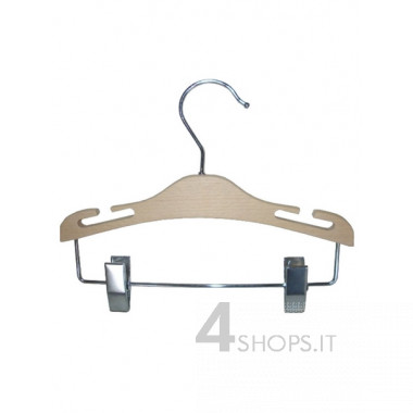 Gruccia cm 30 con pinze e spacchi legno di faggio e metallo cromato - Fronte