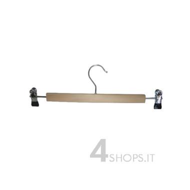 Gruccia con pinze in legno di faggio e metallo cromato, cm.26