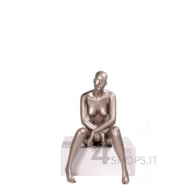Manichino Donna testa astratta seduto finitura grigio metallico pos.034