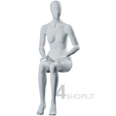 Manichino donna con testa a uovo, seduto