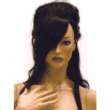 Parrucca donna nera con acconciatura