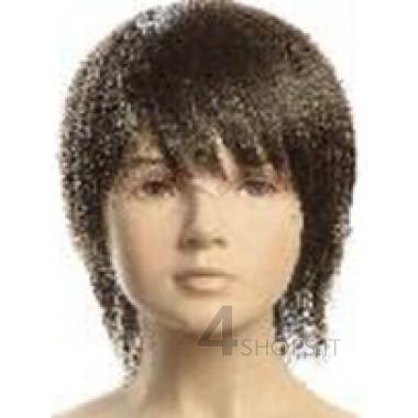 Parrucca nera bambino 6 anni con frangia