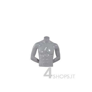 Busto uomo corto laccato grigio perla con braccia e base - Fronte