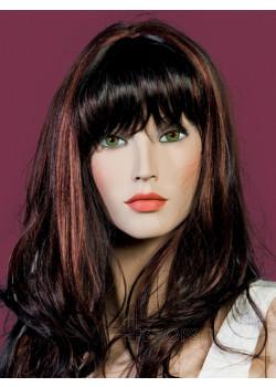 Parrucca donna castana liscia