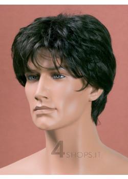 Parrucca uomo nera liscia
