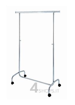 Stender cromato regolabile 100 cm. con ruote 50 mm.
