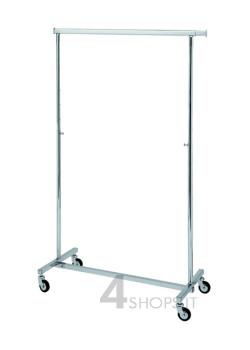 Stender cromato pieghevole e regolabile 100 cm. con ruote 80 mm.