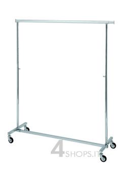 Stender cromato pieghevole e regolabile 140 cm. con ruote 80 mm.