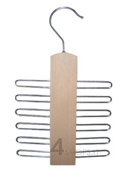 Gruccia portacinture in legno di faggio e metallo cromato