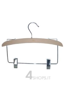 Gruccia cm 30 con pinze e ferma spalline legno di faggio - Fronte