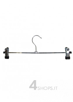 Gruccia cm 30 con pinze in metallo cromato - Fronte