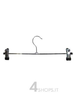 Gruccia cm 35 con pinze in metallo cromato - Fronte