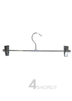 Gruccia cm 35 con pinza in metallo cromato  - Fronte