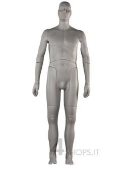 Manichino uomo snodato grigio con base regolabile - Fronte