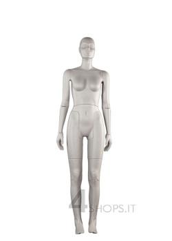Manichino donna snodato grigio con base regolabile - Fronte